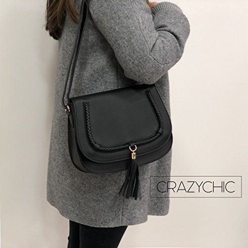 Clutch Purse Saddle Bag Classic Genuine Crossbody Casual Style Lady Fashion CRAZYCHIC Bag Braids Handbag Shoulder Women's Fringes Black Messenger Girl Tassel Flap Brown Leather Taupe Faux Rigid Cxvw1qRUvt