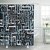 Emvency 66''x72'' Shower Curtain Waterproof Blue Black Abstract Circuit Computer Digital Electronic Futuristic Game Gaming Home Decor Polyester Fabric Adjustable Hooks Set