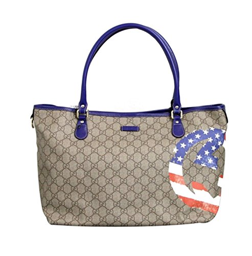 Gucci Coated Canvas Flag Handbag Tote Bag 203693 (US Flag)