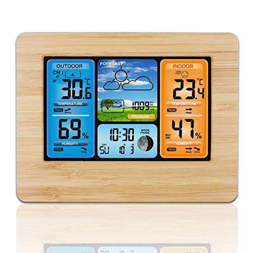 WONFAST Wireless Weather Station Clock with Outdoor Sensor, Weather Monitoring Home Alarm Clocks with Min/Max Display of Thermometer and Hygrometer,Barometer Alarm Moon Phrase (Yellow Bamboo)