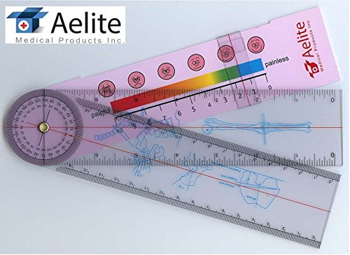 - A+Elite Spinal Goniometer Spine Orthopedics Ruler Test Pain Rating Scale in/Cm/mm Physical Therapy 360 Degree Axis & Range Of Motion Medical Diagnostic Tool