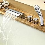 5 Units Waterfall Mixer Faucet Bathtub Tap Rainshower Handshower Set Bath Shower Bathroom Fitting Chromed