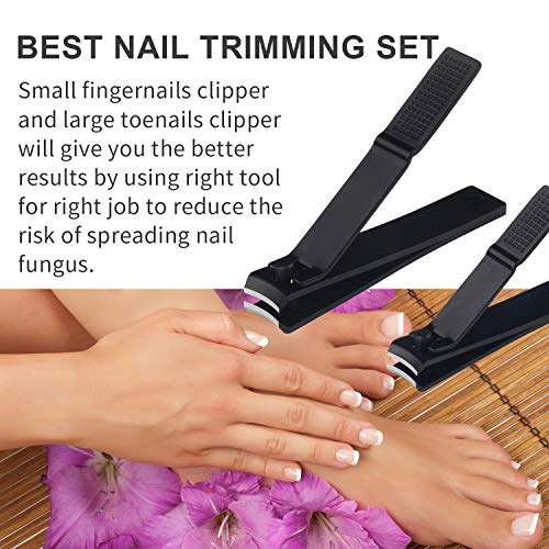 FIXBODY Nail Clipper Set - Black Stainless Steel Fingernails & Toenails Clippers & Nail File Sharp Nail Cutter with Leather Case, Set of 3 (Curved) - 1 Set