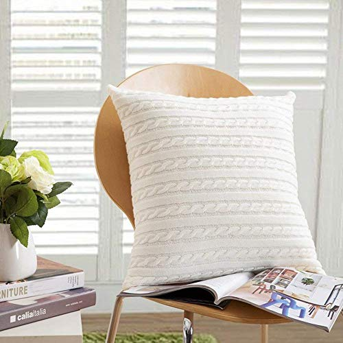 (DOUH Cable Knit Pillow Cover 18 x 18inch Soft Sweater Square Sofa Throw Pillow Case Cushion Cover Decorative Pillow Cover(Pillow Cover Only))