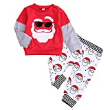 Infant Baby Christmas Outfit Boy Girl Christmas Santa Splicing T-Shirt Tops + Santa Print Pants Pajamas 2pcs Clothes Set (Red&Santa, 3-4 Years)