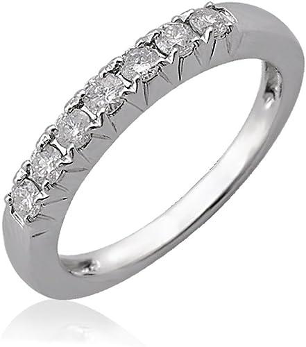 Amazon Com 10k White Gold 7 Stone French Cut Wedding Anniversary