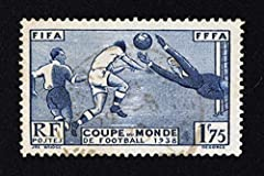 Vintage France World Soccer Cup 1938 Stamp Sports Cool Wall Decor Art Print Poster 36x24