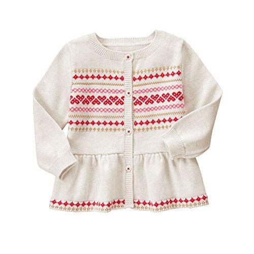 Gymboree Girls' Grey Fairisle Sweater, Jet Ivory, 6-12