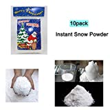 Zinnor Instant Snow Powder, Fake Artificial Snow - Magic Instant Fake Fluffy Snow Super Absorbant for Slime - Best Gifts for Science Activities, Play Dates, Parties, Games, Decoration,Holiday (10PACK)