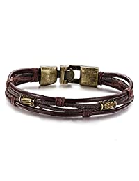 Presentski Fashion Leather Bracelet with Magnetic Buckle Black Color for Men Boys 8.7 Inches