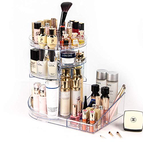 SUNFICON Large Makeup Organizer 360 Degree Rotating Cosmetic Holder Storage Box Display Stand Case Multifunctional Adjustable Trays Fits All Size Beauty Skincare Items Jewellery Washable Acrylic Clear from SUNFICON