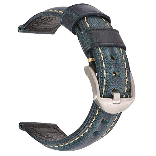 Vintage Leather Watch Band EACHE Watch Strap Oil Wax Genuine Leather Replacement Watchband for Men for Women 20mm Dark Blue Silver Buckle