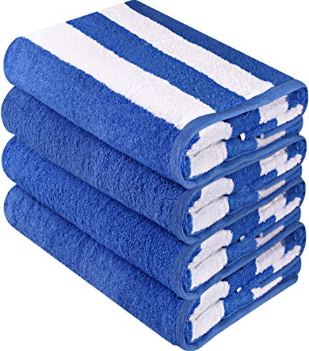 Utopia Towels Cabana Stripe Beach Towels (4 Pack, 30 x 60 Inches) - Large Pool Towels, Blue (White Chairs Pool)
