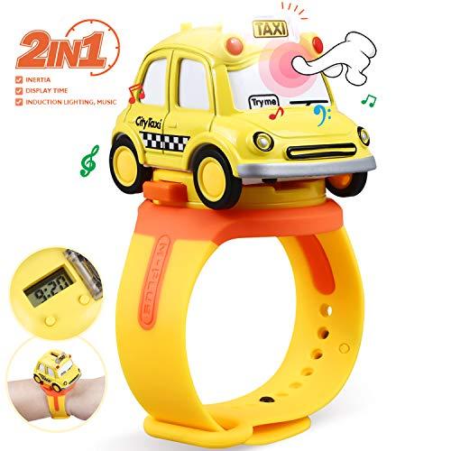 Peradix Kinder Spielzeug Auto Set- Montage Spielzeug Fahrzeug und Armbanduhr, 1:62 Die-Cast Fahrzeuge und Cartoon Kinder Uhr Mädchen Junge Geschenk für Weihnachten Party Kindergeburtstag (Gelb)
