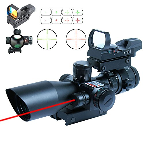 Find Cheap Ledsniper®2.5-10x40 Tactical Rifle Scope w/ Red Laser & Holographic Green / Red Dot Sigh...