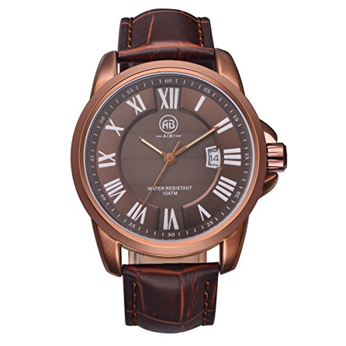 10 Atm Date Watch - AIBI Men's Watch Analog Quartz Brown Leather Strap 10 ATM Waterproof Watch 40mm Case With Date