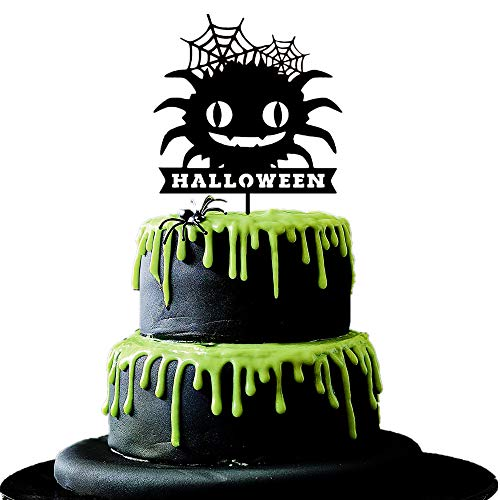 JeVenis Big Spider Halloween Cake Topper Halloween party Pumpkin Birthday Halloween Decoration Pumpkin Cake topper Bat Cake Topper]()