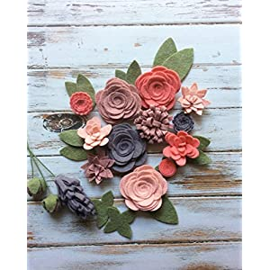 Wool Felt Fabric Flowers - Flower Embellishment - Large Posies - 17 Flowers & 14 leaves - Create your own Headbands, Wreaths 6
