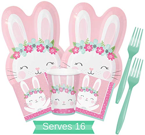 Bunny Birthday Party Supplies - Some Bunny Is One Party Supplies - Bunny Party Plates and Napkins Cups Forks for 16 People - Perfect Some Bunny Is One 1st Birthday Party Decorations!