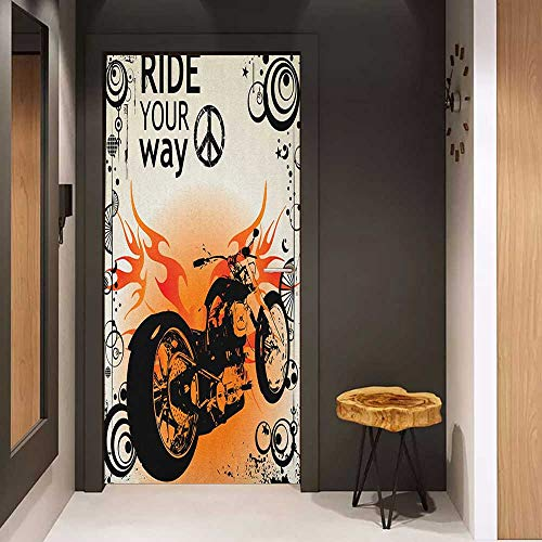 - Soliciting Sticker for Door Manly Motorcycle Image with Ride Your Way Text Peace Sign Freedom Action Freestyle Mural Wallpaper W38.5 x H77 Black Orange Cream