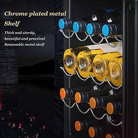 YUN Vinoteca,Mini Nevera,Nevera para Vinos De Compresor con Panel Táctil Y Pantalla LED para Bebidas Enlatadas Refrescos Cerveza O Vino (Capacidad: 16 Botellas)