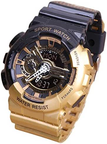Multi-Function Fashionable Outdoor Waterproof Sport Kids Watch For Boys Girls Wrist Watches Gold+Black