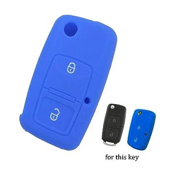 muchkey Llave de Coche de silicona chaqueta ajuste para Volkswagen 2 botones carcasa para llave 1pieza