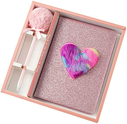 Pink Heart Fuhgkg Frappe with Sprinkles Glitter Notebook Set with Heart and Plush Pen Glitter Leather Diary Journal Notebook Gift Set