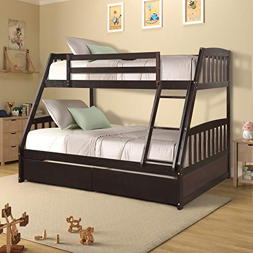 Hooseng Twin Over Full Bunk Bed with Two Storage Drawers, Space Saving Design. Modern Look and Solid Construction.Crafted of Pine Wood, Light Espresso