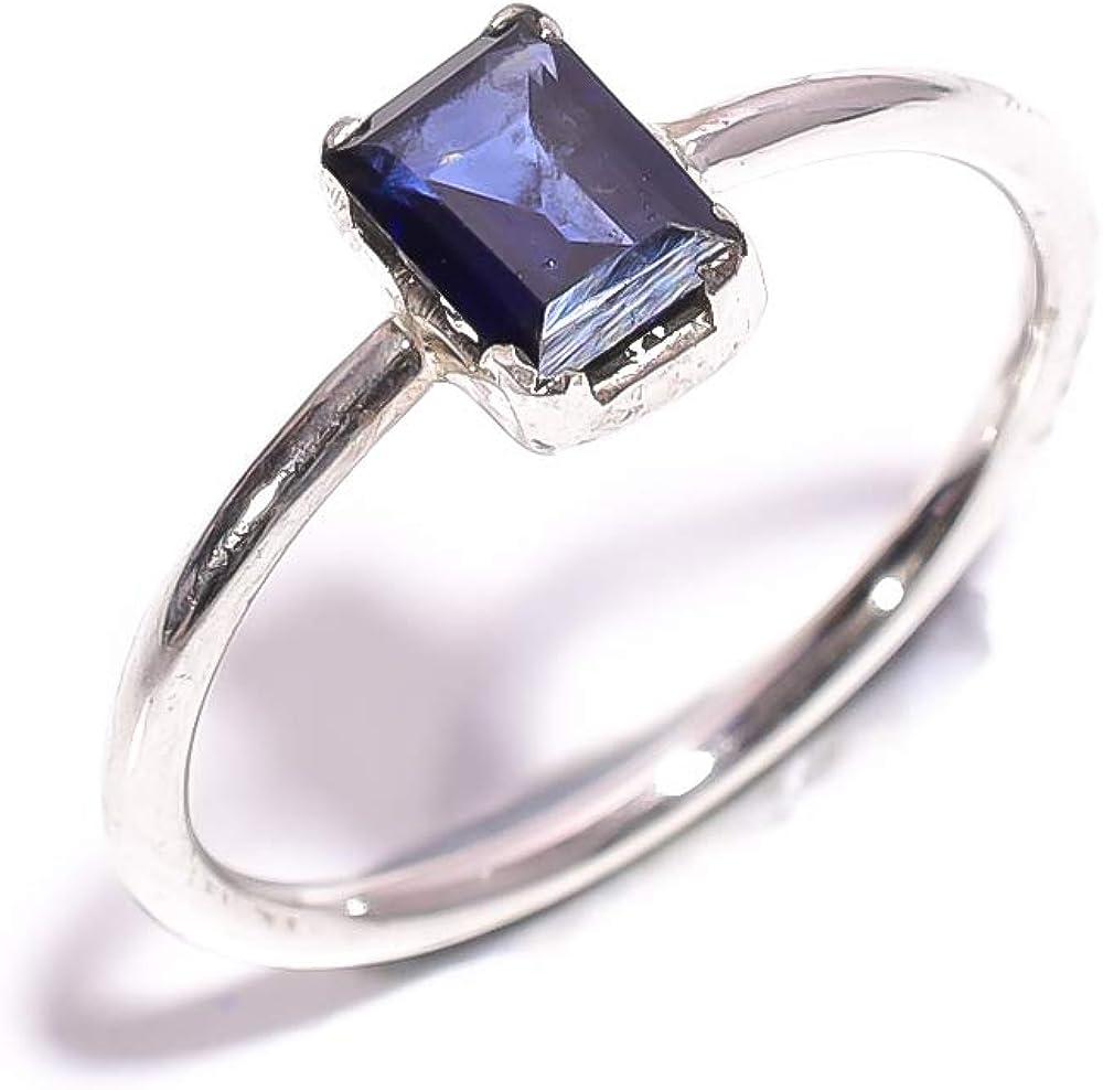 mughal gems & jewellery Anillo de Plata de Ley 925 Anillo de joyería Fina con Piedras Preciosas de Zafiro Azul Natural (8.75 U.S)