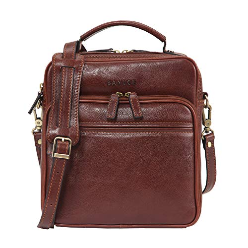 - Banuce Small Vintage Full Grain Italian Leather Messenger Bag for Men Tote Satchels Crossbody Bag 9.7