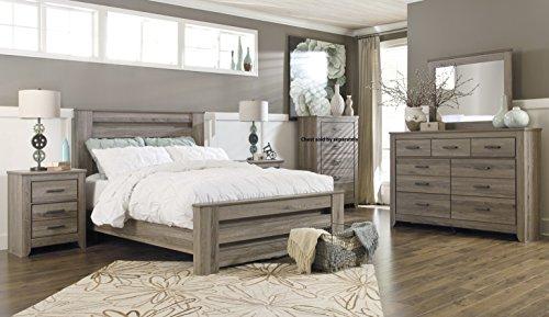 Zerlien Casual Wood Warm Gray Color Bed Room Set, Queen Poster Bed, Dresser, Mirror And Two Nightstands