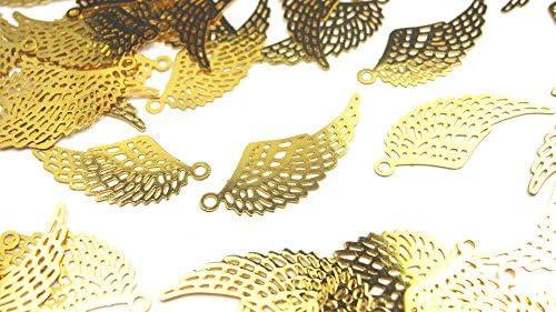 【HARU雑貨】透かしパーツ ゴールド 10枚セット/羽 翼 カン付き sg01/チャーム 素材 アクセサリーパーツ