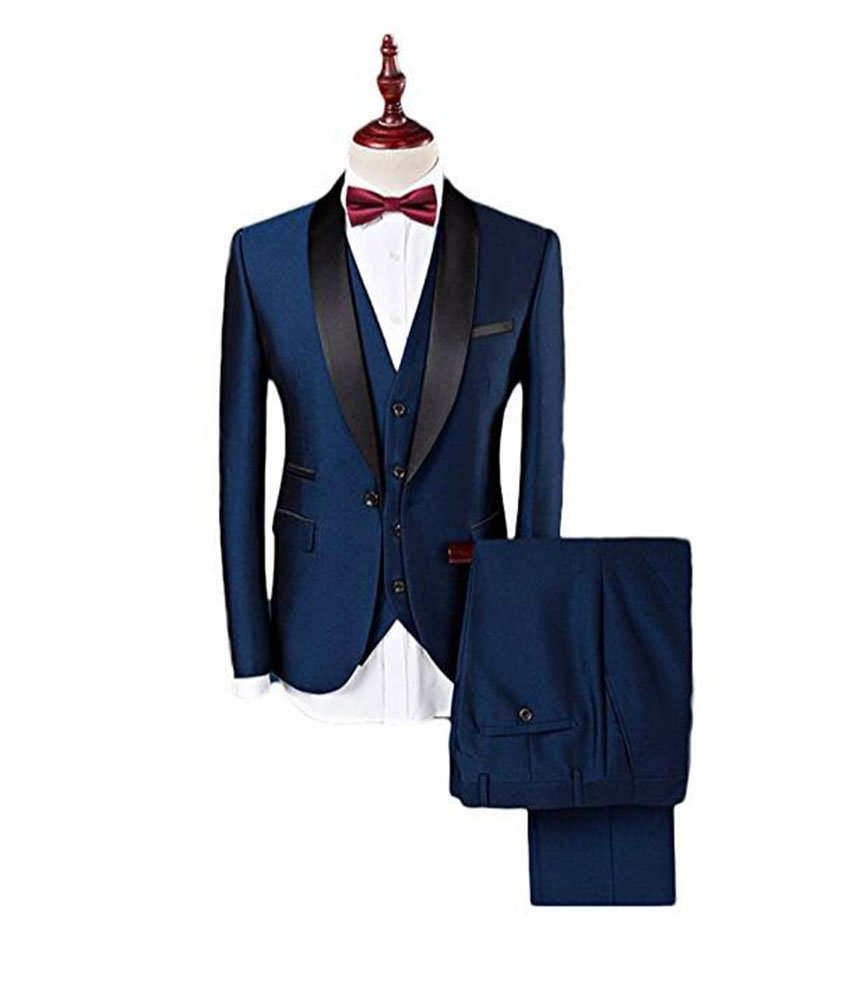 Botong Blue Shawl Lapel Men Suits 3 Pieces Wedding Suits for Men Groom Tuxedos Blue 40 chest / 34 waist