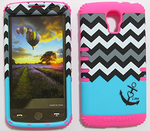 FOR LG VOLT VOLT LS740 BOOST, VIRGIN MOBILE LOVE ANCHOR CHEVRON BLACK WHITE BLUE MA-TE703 RUGGED HYBRID CELL PHONE COVER PROTECTOR FACEPLATE HARD CASE AND HOT PINK SKIN WITH STYLUS PEN