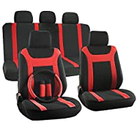OxGord 17pc Set Flat Cloth Mesh Red & Black Y Stripe Seat Covers Set - Airbag Compatible - Front Low Back Buckets - 50/50 or 60/40 Rear Split Bench - 5 Head Rests - Universal Fit for Car, Truck, Suv, or Van - FREE Steering Wheel Cover