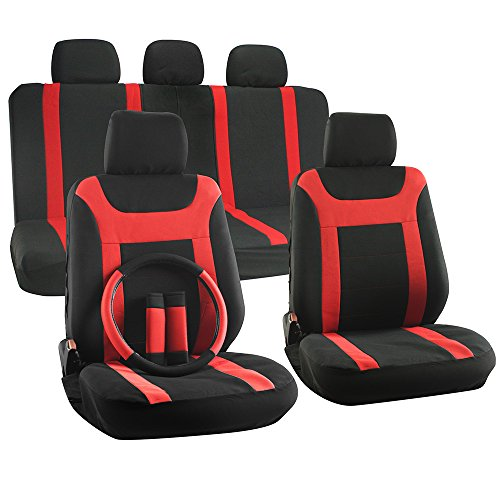 OxGord 17pc Set Flat Cloth Mesh Red & Black Y Stripe Seat Covers Set - Airbag Compatible - Front Low Back Buckets - 50/50 or 60/40 Rear Split Bench - 5 Head Rests - Universal Fit for Car, Truck, Suv, or Van - FREE Steering Wheel Cover (2008 Tundra Steering Wheel Cover compare prices)