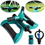 Outee Lawn Sprinkler Impact Sprinkler Automatic 360 Rotating Adjustable Garden Sprinkler Lawn Irraigation System A Large Area Coverage with Leak Free Design Durable 3 Arm Sprayer Summer Outdoor