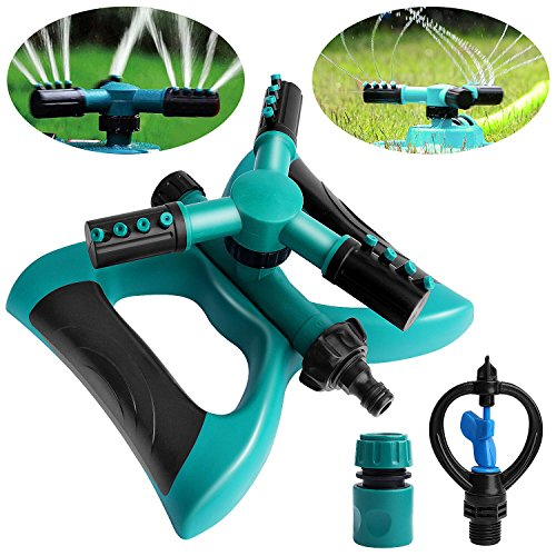Outee Lawn Sprinkler Water, Automatic 360 Rotating Adjustable Garden Water Sprinklers Lawn Irrigation System Garden Sprinkler With Leak Free Design Durable 3 Arm Sprayer, Up to 3600 Sqft Coverage