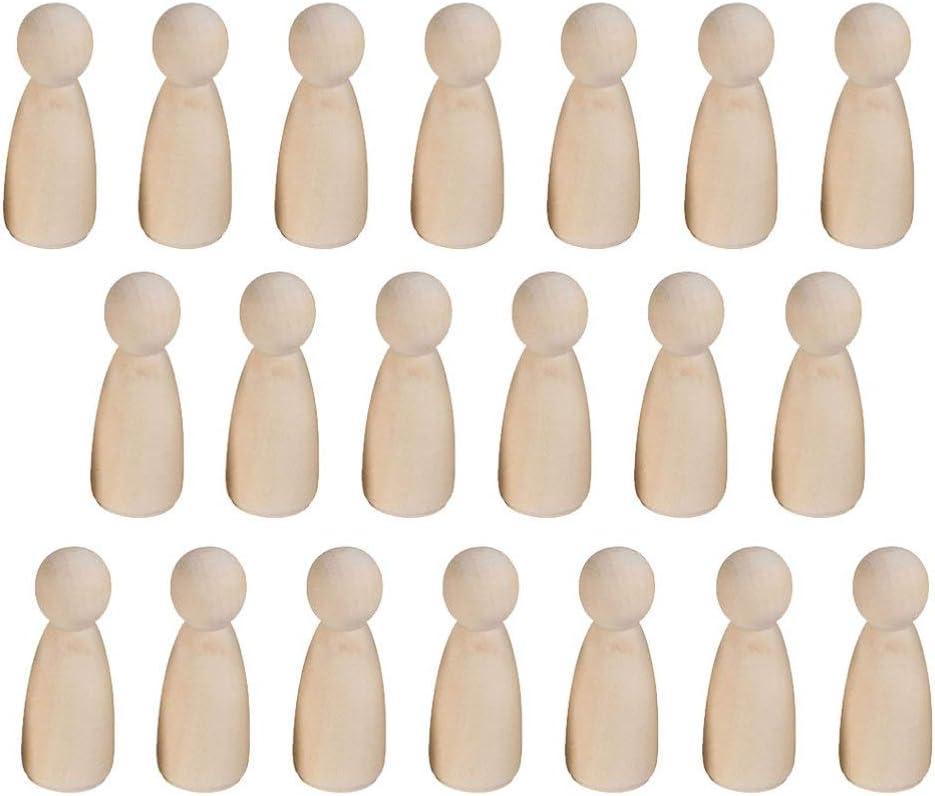 HEALLILY 20 Piezas Mu/ñecas de Clavija de Madera Clavija de Madera sin Terminar Hombres Personas Figuras de Mu/ñecas para Pintura Diy Arte de Navidad Decoraci/ón de Juego de Clavija de Arte 35 Mm