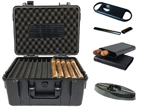 F.e.s.s. 50-60 Count Executive Travel Humidor Case With Bonus Cigar Ashtray, Cigar V cutter and Plastic Crushproof, Airtight Cigar travel (Plastic Travel Humidor)