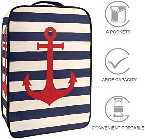MYSTAGE シューズバッグ 靴箱 シューズケース シューズ袋 旅行収納ポーチ 二層式 靴入れ 小物収納 収納ケース アウドドア 出張 旅行 アンカー ストライプ 海洋