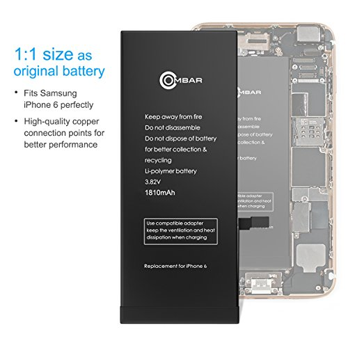 iPhone 6 Battery, Ombar Apple iPhone 6 Battery Replacement 1810mAh with Complete Repair Tools Kit, Adhesive, and Instructions Brand New 0 Cycle by Ombar (Image #4)