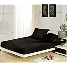 Zhiyuan Solid Color Silky Satin Bedding Fitted Sheet 2 Pillowcases Set, Queen, Black