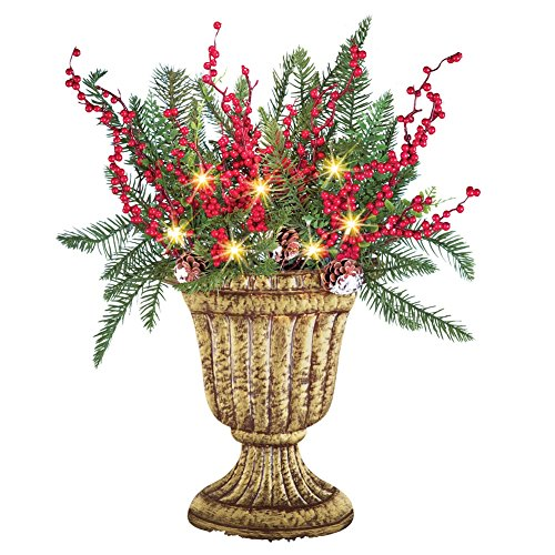 Floral Greenery Topiary Vase Solar Christmas Decoration Christmas Topiary