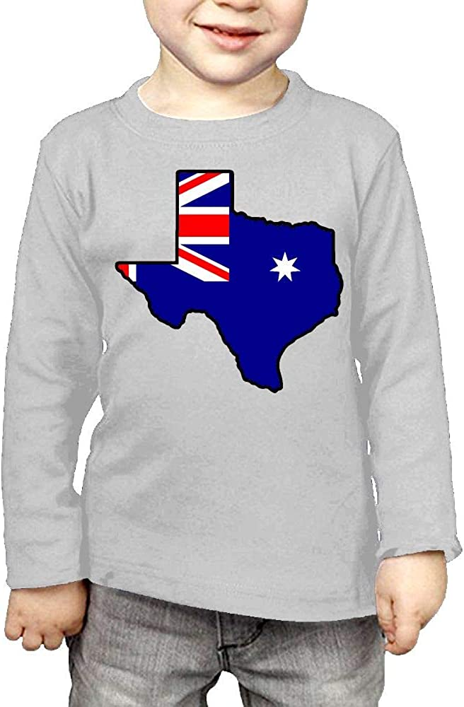 CERTONGCXTS Little Boys Australian Flag Texas Map ComfortSoft Long Sleeve T-Shirt