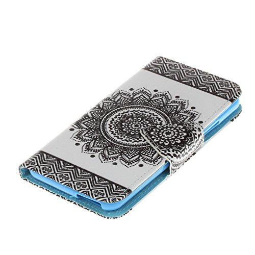 Caja de Teléfono para Wiko Rainbow Jam 4G Funda LuckyW Casa Flip Folio Funda Bookstyle Funda Flexible Ligera Duradera con Función de Soporte Ranuras de Tarjeta Soporte de Identificación Cierre Magnéti Mandala