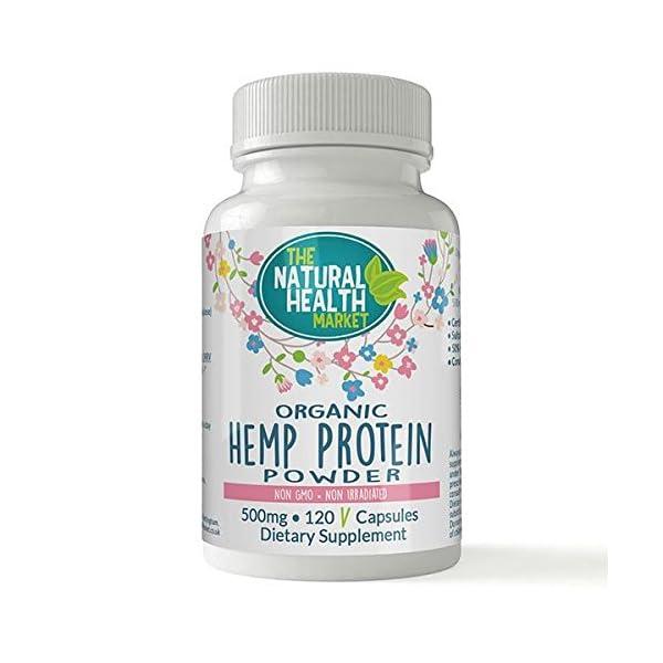 Organic Hemp Protein Capsules • Soil Association Organic Certified • 500mg Capsules (120 Capsules)