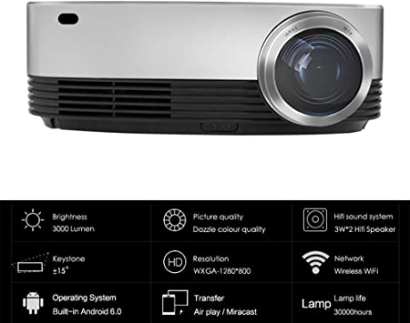 WAYPGC Proyector, 3000 lúmenes, HD 1080P, corrección de distorsión ...