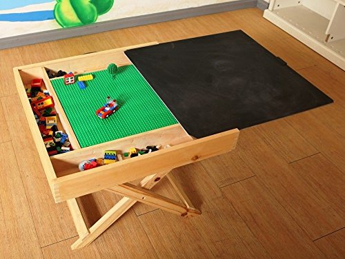 Convertible Lego to Chalkboard Folding Custom Play Table with Built-in Storage and Carry Handle